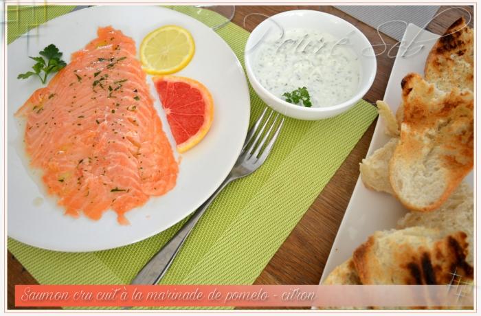 Saumon cru cuit à la marinade de pomelo – citron